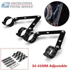 41-51MM Black Adjustable Fork Headlight Mount Brackets For Motorcycle Cafe Racer