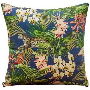 "Tropical Flora Velvet Cushion. Orchids, flowers, animals print. Super Soft 17"""