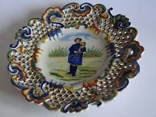 VINTAGE PLATE FRENCH FAIENCE DESVRES ROUEN 19 TH CENTURY openwork plate