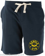 Mens Bodybuilding Arnold Gym Workout Navy Shorts Training Bottoms Joggers L