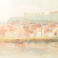 Coastal landscape painting antique watercolour English School buildings