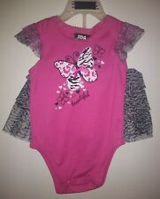 New Diva Baby Girl Size 6-9 Months Outfit One Pc With Skirt Pink Zebra Butterfly