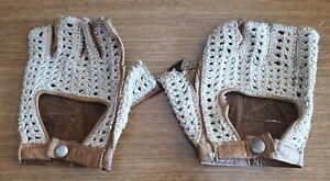 RARE Vintage Retro Tan Leather Crochet Bike Cycling Gloves Half Finger M