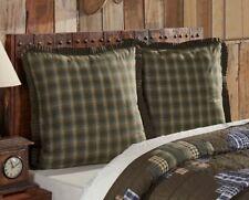 SENECA Fabric Euro Sham Green/Brown Plaid Rustic Primitive Cabin Lodge Country
