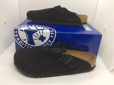 BIRKENSTOCK Womens Boston Black Suede Slip On Clog Shoes Sz 10 EU41 ZB6-981