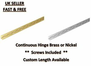 CONTINUOUS PIANO HINGE WITH SCREWS NICKEL-PLATED / ELECTRO BRASS 32MM X 1M HINGE