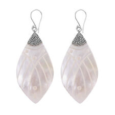 Carved Mother of Pearl Large Fancy Earrings in 925 Sterling Silver - 5.7 cm #N43