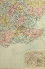 1891 ANTIQUE MAP SOUTH EAST ENGLAND BIRMINGHAM SUSSEX LONDON ESSEX SUFFOLK