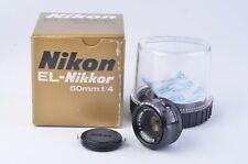 MINT BOXED NIKON EL-NIKKOR 50mm F4, CAP, JEWEL CASE, NICE!