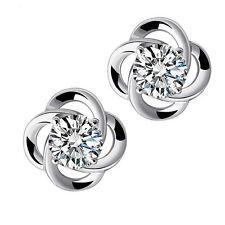 925 Sterling Silver Women Clover Jewelry Lady Elegant Crystal Ear Stud Earrings