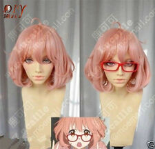 Cosplay Beyond the Boundary Kuriyama Mirai Rikka Wig Short Pink Anime Full Hair