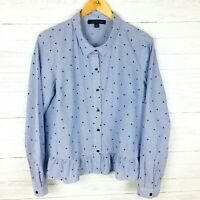 Tommy Hilfiger Women's Blue and White Striped Star Print Shirt Ruffle Hem Tunic