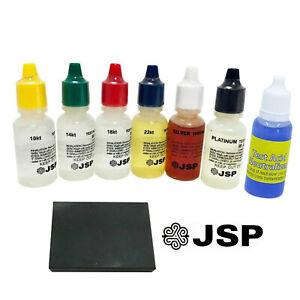 6 Gold Silver Testing Acid Jewelry Test Kit Scratch Stone w/ 1/2 oz Neutralizer