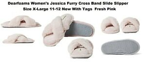 DEARFOAMS JESSIA FURY CROSS BAND SLIDE SLIPPERS SIZE X-LARGE 11-12 NEW WITH TAGS