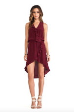 NEW LA MADE BURGUNDY SILK FLUTTER HI LOW DRESS S (4 6)