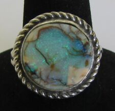 Native American Sterling Spider Web Opal Ring Size 8 w/C.O.A Signed Mabel Gray