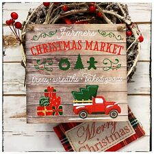 Wall hanging sign/picture Rustic Christmas Market Fresh Trees Red truck car
