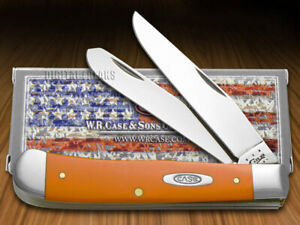 Case xx Trapper Knife Smooth Orange Delrin Stainless Pocket Knives 80500