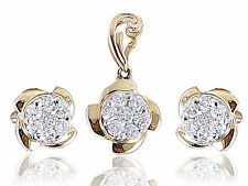 1/2 Cts Round Brilliant Cut Diamonds Pendant Earrings Set In 18Karat Yellow Gold
