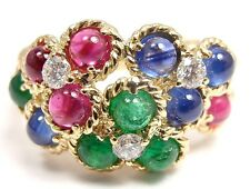 AUTHENTIC! CHRISTIAN DIOR 18K GOLD FLOWER DIAMOND EMERALD RUBY SAPPHIRE RING
