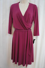 AGB Dress Sz M Berry Faux Wrap Sash Tie Career Cocktail Jersey dress
