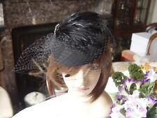 SCALA BLACK FELT TOPPER HAT WITH NETTING , FEATHERS & DIAMONTE TRIM