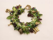 "Bracelet Bead Kit ""Vino""  Wine themed, grapes, leaves, glass and pewter beads."
