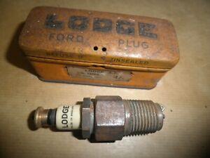 c 1930s LODGE SPARK PLUG FOR FORD CARS (ORIGINAL TIN).
