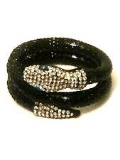 Womens Statement Big Large Black Crystal Diamante Snake Bracelet Gothic Punk