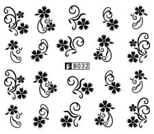 Stickers Ongles Water Décal Nail Art Fleur Noir B-032 - Neuf