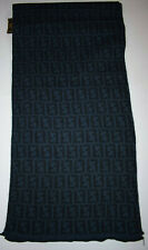 Fendi logo Zucca Black and Blue Scarf in good condition