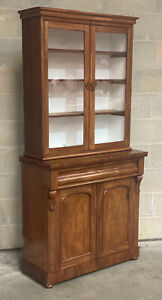 Antique Victorian Mahogany Bookcase Cupboard Glazed Dresser Display DELIVERY*