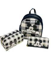 Disney Mickey Mouse Backpack /Wallet Purse/Cosmetic Bag Tartan Check PRIMARK