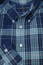 Polo Ralph Lauren Boy's Shades of Blue Plaid Cotton Casual Shirt L Large