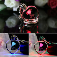 Fairy Crystal Rose LED Light Love Heart Key Chain Keyring Pendant Charm Gifts