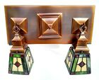 Rejuvenation  Arts   Crafts style Stained Glass Shades ceiling light fixture