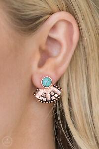 Stylishly Santa Fe Copper with turquoise Bead Peekaboo Paparazzi Earring