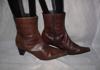 WOMENS TAMARIS DARK BROWN ZIP LEATHER HIGH HEEL ANKLE BOOTS SIZE:6.5/40(WB1222)