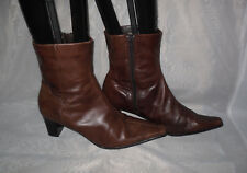 TAMARIS WOMENS  DARK BROWN ZIP LEATHER HIGH HEEL ANKLE BOOTS SIZE:6.5/40(WB1222)