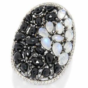 Meher's Jewelry Rainbow Moonstone, Black Spinel & White Zircon Gem Cluster Ring