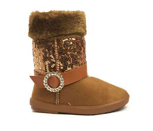 New Kids Boots Toddler Girls Cute Rhinestone Accent Shiny Sequins Infant Shoes