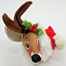 Vintage Annalee Reindeer Head Christmas Ornament 1988