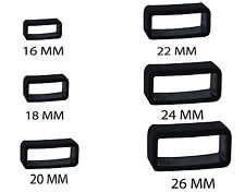 Rubber PVC Black Watch Strap Buckle Band Keeper Hoop Loop Holder Retainer Ring