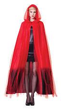 Ladies Red Devil Valentine Cape Fancy Dress Vampire Counts Halloween Costume New