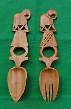 LARGE WOOD SERVING SPOON AND FORK WITH ELEPHANT DESIGN HANDLE #2