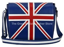Real Leather Cross Body Blue Union Jack Bag, Laptop, Satchel, Messenger Bag