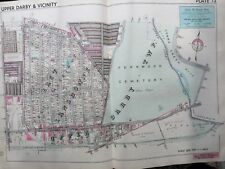 1942 DELAWARE CO PA UPPER DARBY FERNWOOD CEMETERY, SCHOOL & STATION ATLAS MAP