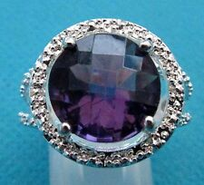 925 Sterling Silver Ring With Amethyst UK Q, US 8 (rg0483)