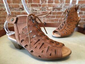 Earth Sand Brown Nubuck Leather Kristen Lace-up Peep-toe Sandal 10W New