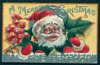 CHRISTMAS EMBOSSED POSTCARD SANTA WITH POINTSETTA UNPOSTED
